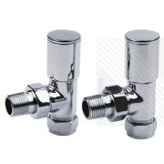 Arian Modern Angled Radiator Valves in Chrome 15mm x 1/2""